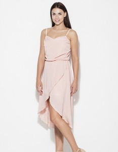 Różowa sukienka Figl asymetryczna na ramiączkach