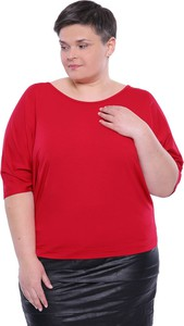 Czerwona bluzka modneduzerozmiary.pl z krótkim rękawem