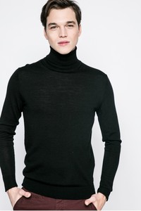 Czarny sweter premium by jack&jones bez wzorów z dzianiny