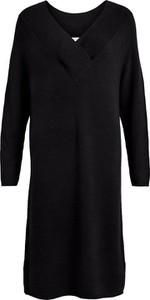 Czarna sukienka Vila z dekoltem w kształcie litery v mini z długim rękawem