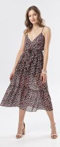 Sukienka born2be midi na ramiączkach z dekoltem w kształcie litery v