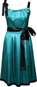 Zielona sukienka Fokus rozkloszowana z okrągłym dekoltem