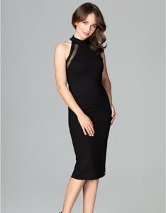 Czarna sukienka LENITIF bez rękawów z tkaniny midi