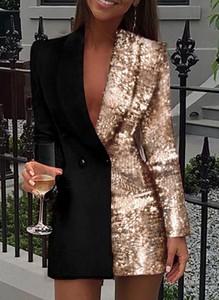 Złota sukienka Sandbella z długim rękawem