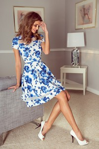 Niebieska sukienka MORIMIA mini z tiulu z okrągłym dekoltem