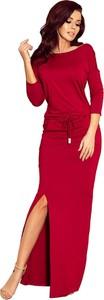 Czerwona sukienka NUMOCO maxi z okrągłym dekoltem z długim rękawem