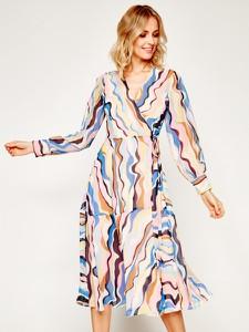 Sukienka Marella kopertowa midi z długim rękawem