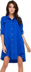 Niebieska sukienka Ooh la la w militarnym stylu z dzianiny z długim rękawem