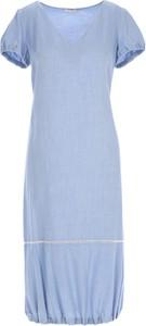 Niebieska sukienka POTIS & VERSO z krótkim rękawem