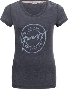 T-shirt Guess Jeans w młodzieżowym stylu z krótkim rękawem