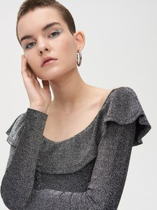 Bluzka Cropp z długim rękawem w stylu casual z dekoltem w kształcie litery v