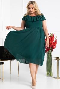 Zielona sukienka KARKO hiszpanka z krótkim rękawem