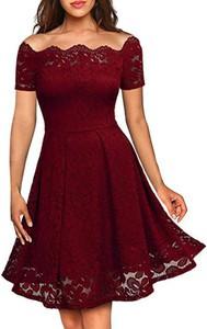 Czerwona sukienka Cikelly z krótkim rękawem z dekoltem w łódkę