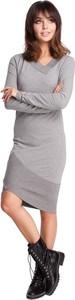 Sukienka Be z dresówki z długim rękawem asymetryczna