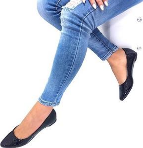 Baleriny Footwear w stylu glamour ze skóry