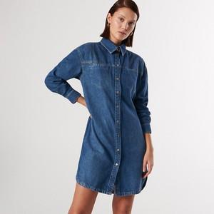 Sukienka Reserved mini z długim rękawem z jeansu