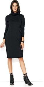 Czarna sukienka Makadamia w stylu casual midi