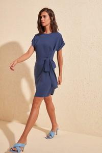 Niebieska sukienka Trendyol mini z krótkim rękawem