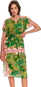 Zielona sukienka Top Secret midi z dekoltem w kształcie litery v z krótkim rękawem