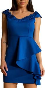 Niebieska sukienka Elegrina z krótkim rękawem mini trapezowa