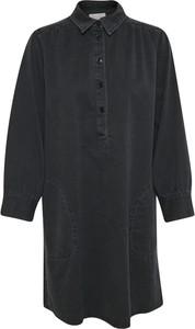 Czarna sukienka Part Two koszulowa z długim rękawem