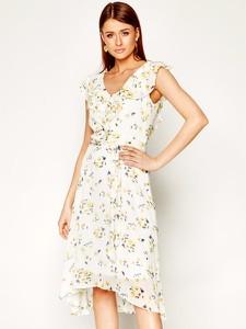 Sukienka DKNY z dekoltem w kształcie litery v bez rękawów midi