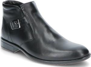 Czarne buty zimowe Iguana Lider z klamrami ze skóry