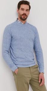 Niebieski sweter Selected w stylu casual z okrągłym dekoltem z bawełny