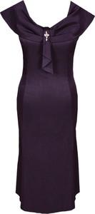 Fioletowa sukienka Fokus dopasowana z dekoltem w kształcie litery v
