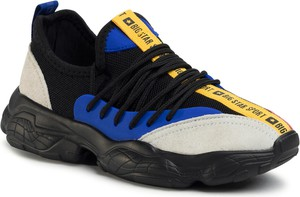 Buty sportowe Big Star ze skóry ekologicznej sznurowane z płaską podeszwą