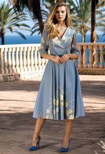 Sukienka Poza kopertowa z długim rękawem