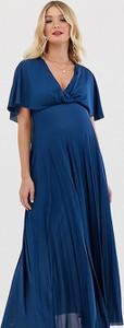 Granatowa sukienka Asos z dekoltem w kształcie litery v