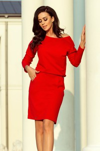 Czerwona sukienka NUMOCO w stylu casual z długim rękawem mini