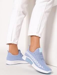 Niebieskie buty sportowe born2be sznurowane z płaską podeszwą