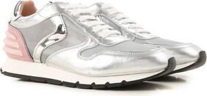 9e021748b6f106 Srebrne buty sportowe Voile Blanche ze skóry sznurowane z płaską podeszwą