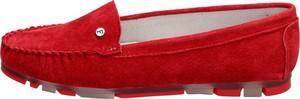 Czerwone półbuty Suzana ze skóry z płaską podeszwą