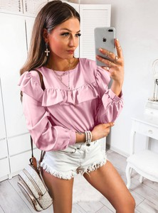 Różowa bluzka Pakuten z długim rękawem