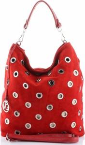 Czerwona torebka VITTORIA GOTTI z zamszu w wakacyjnym stylu średnia