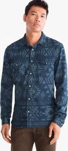 Niebieska koszula ANGELO LITRICO z bawełny z długim rękawem