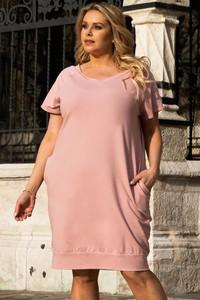 Różowa sukienka KARKO z krótkim rękawem
