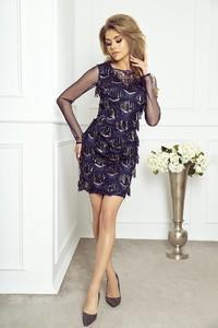 Niebieska sukienka imesia.pl mini dopasowana w stylu boho