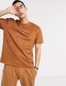Brązowy t-shirt Asos Design z zamszu