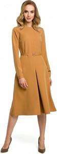 Brązowa sukienka MOE midi z długim rękawem