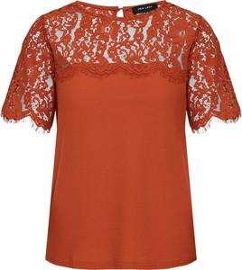 Pomarańczowa bluzka New Look z krótkim rękawem z tkaniny