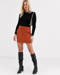 Brązowa spódnica Vero Moda mini z zamszu