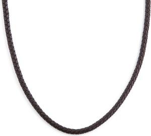 Trendhim Brązowy naszyjnik z plecionej skóry 5 mm
