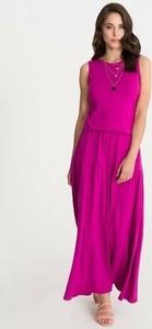 Różowa sukienka Studio Erer maxi w stylu boho z okrągłym dekoltem