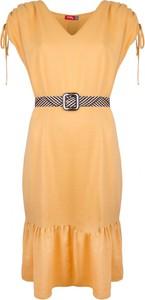 Sukienka WIBS z lnu z krótkim rękawem