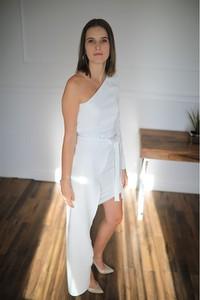 Sukienka Lamaja Butik maxi bez rękawów z asymetrycznym dekoltem