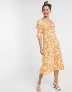 Pomarańczowa sukienka Faithfull The Brand z długim rękawem